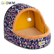 2019 Warm Cat Cave Bed With Ball Comfortable Pet Dog Kennel Top Quality Small Dogs Cats Home Nest Cute Pattern Kitten Puppy