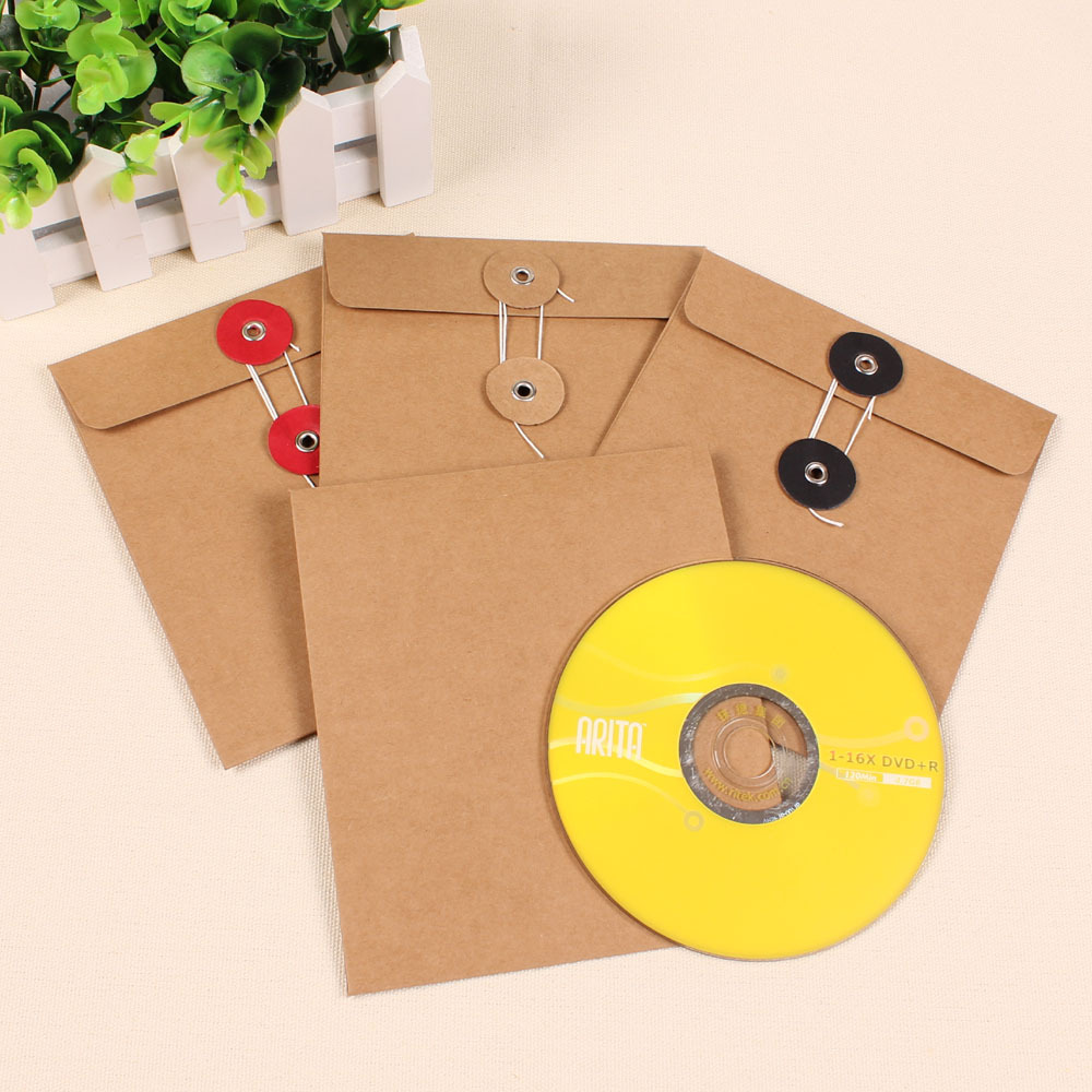 Wholesale 1200Pcs/Lot 13*15cm High Quality Disc CD Sleeve 250gsm Event Kraft CD DVD Paper Bag Cover CD Packaging Envelopes Boxes