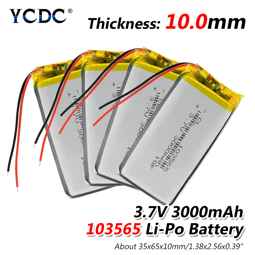 1/2/4x 103565 Rechargeable 3.7V 3000mAh Li-polymer Battery 65x35x10mm Li-ion Polymer Batteries For GPS PSP POS Machine E-book image