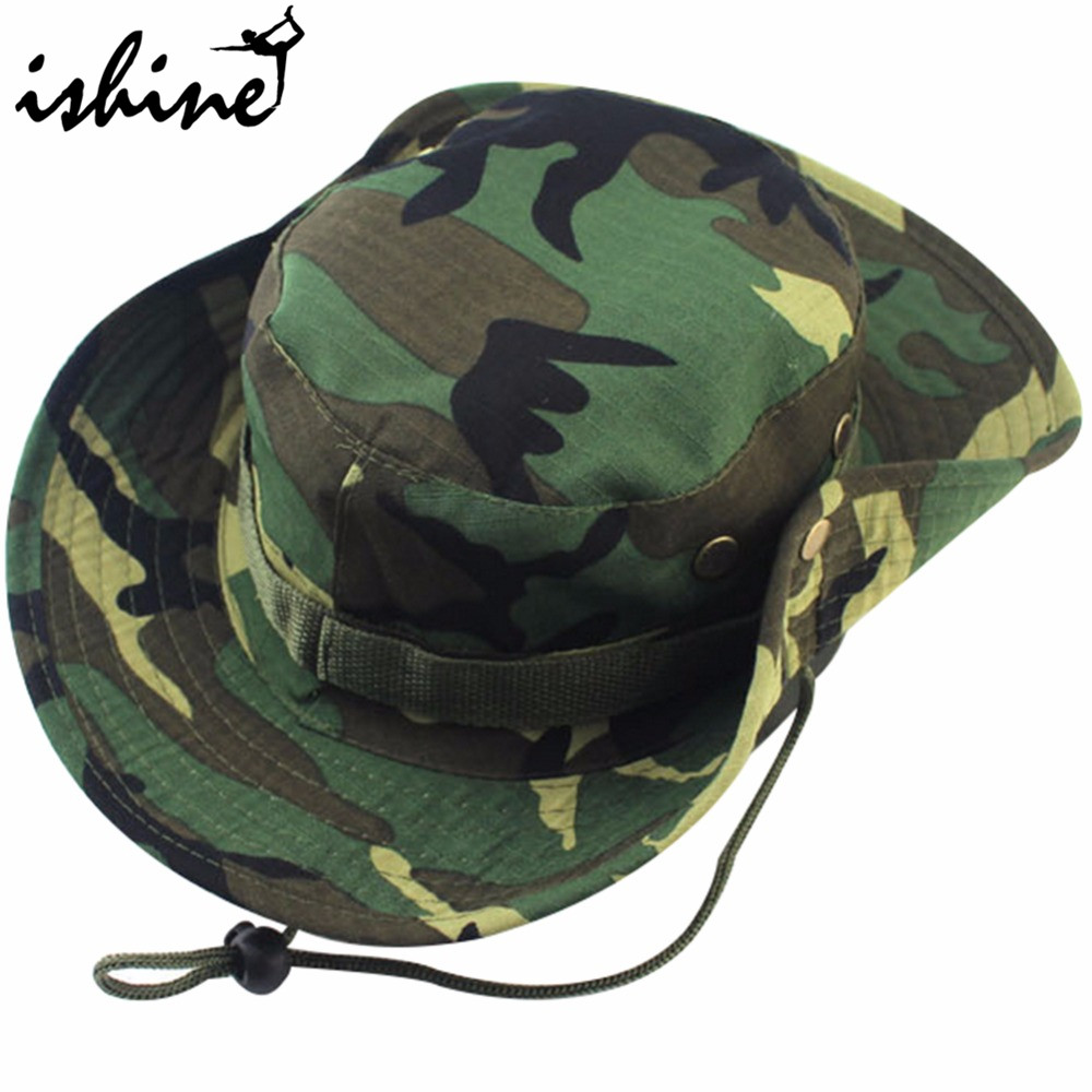 8 Farger Militær Camouflage Bucket Hatter Fishing Hats With Wide Brim Sol Fishing Bucket Hat Camping Sunscreen Outdoor Hat