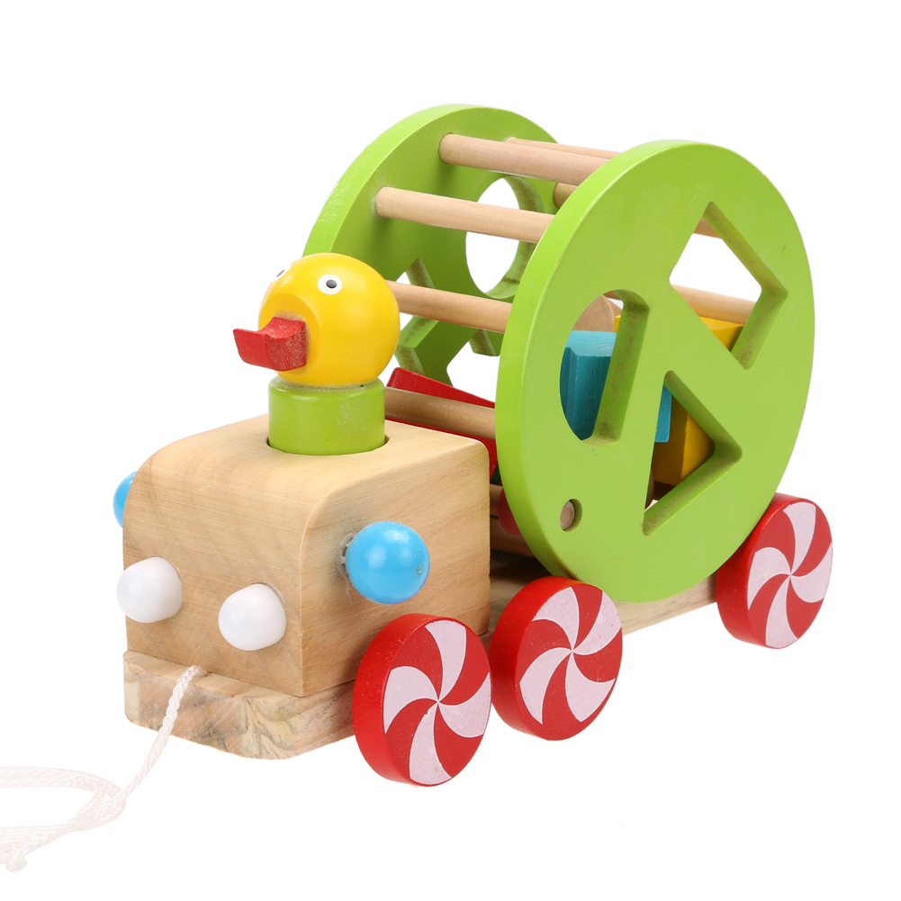 Kids Wooden Cart Duckling Pull Along Cart Building Block Toy Set for Children Christmas Birthday Gift candice guo wooden toy wood block duck pull cart board cannula pillar vehicle shape macth game birthday gift christmas present