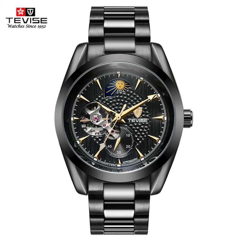 TEVISE Watch Men Moon Phase Mechanical Watches Luminous Automatic Watch Waterproof Steel Fashion Business Wristwatches Male tevise men automatic self wind mechanical wristwatches business stainless steel moon phase tourbillon luxury watch clock t805d
