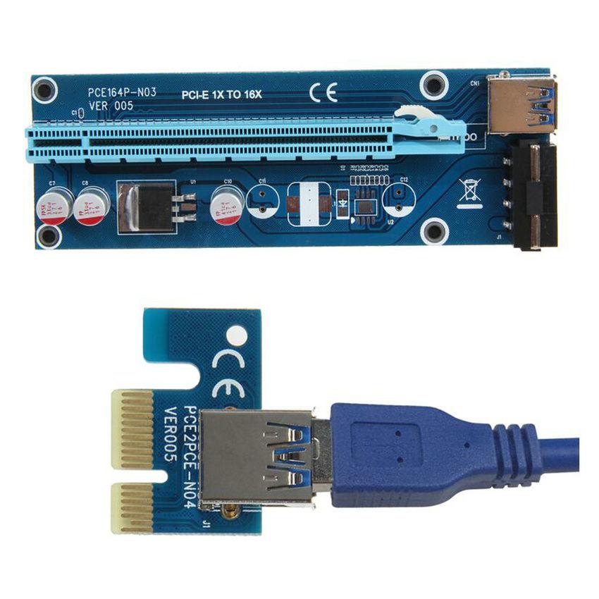 Liels Q PCIe PCI-E PCI Express Risera karte 1x līdz 16x USB 3.0 datu kabelis SATA - 4Pin IDE Molex barošanas avots
