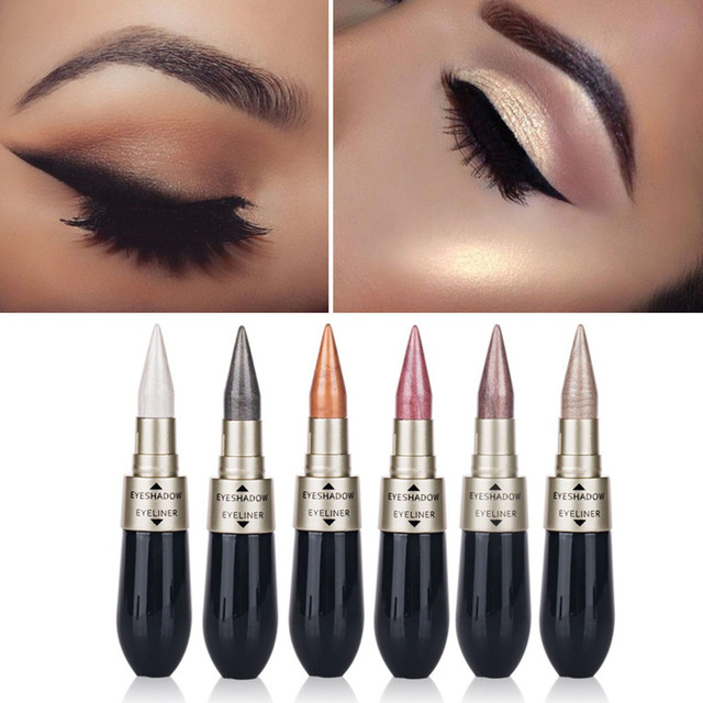 Waterproof 2 in 1 Black Liquid EyeShadow Eyeliner Pen Double-end Eye Liner Pencil Eye Shadow Combination Makeup Tool TSLM1 1