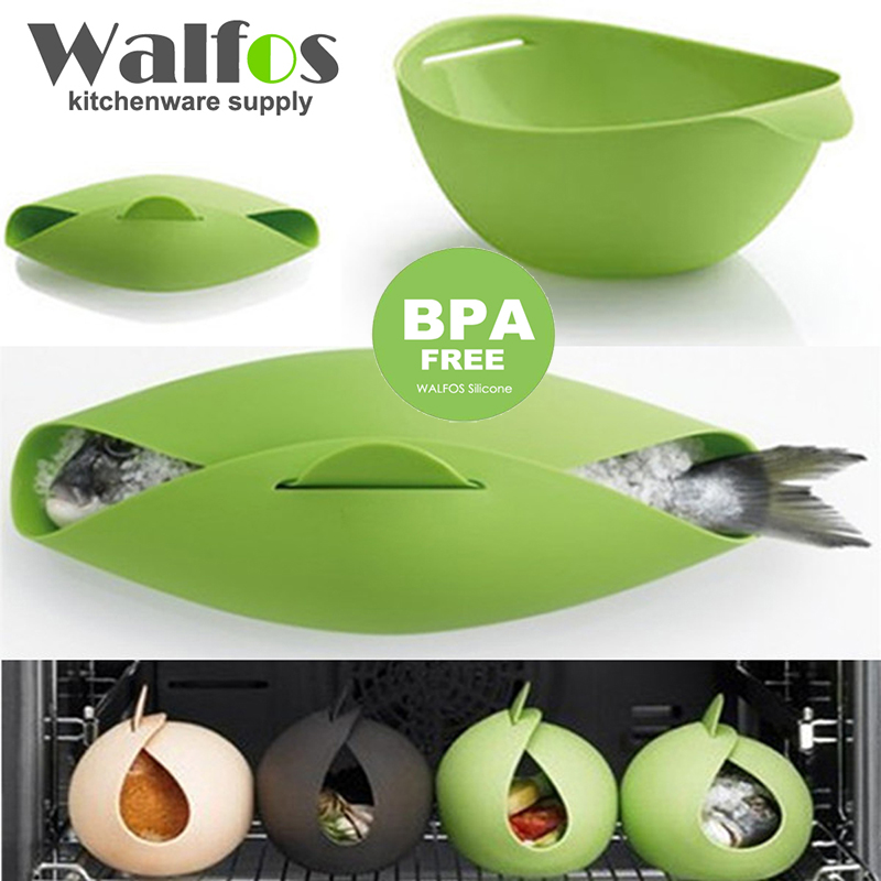 WALFOS Silicone Steamer  Microwave Steamer Oven Fish Kettle Poacher Cooker Food Vegetable Bowl Basket Kitchen Cooking Tools