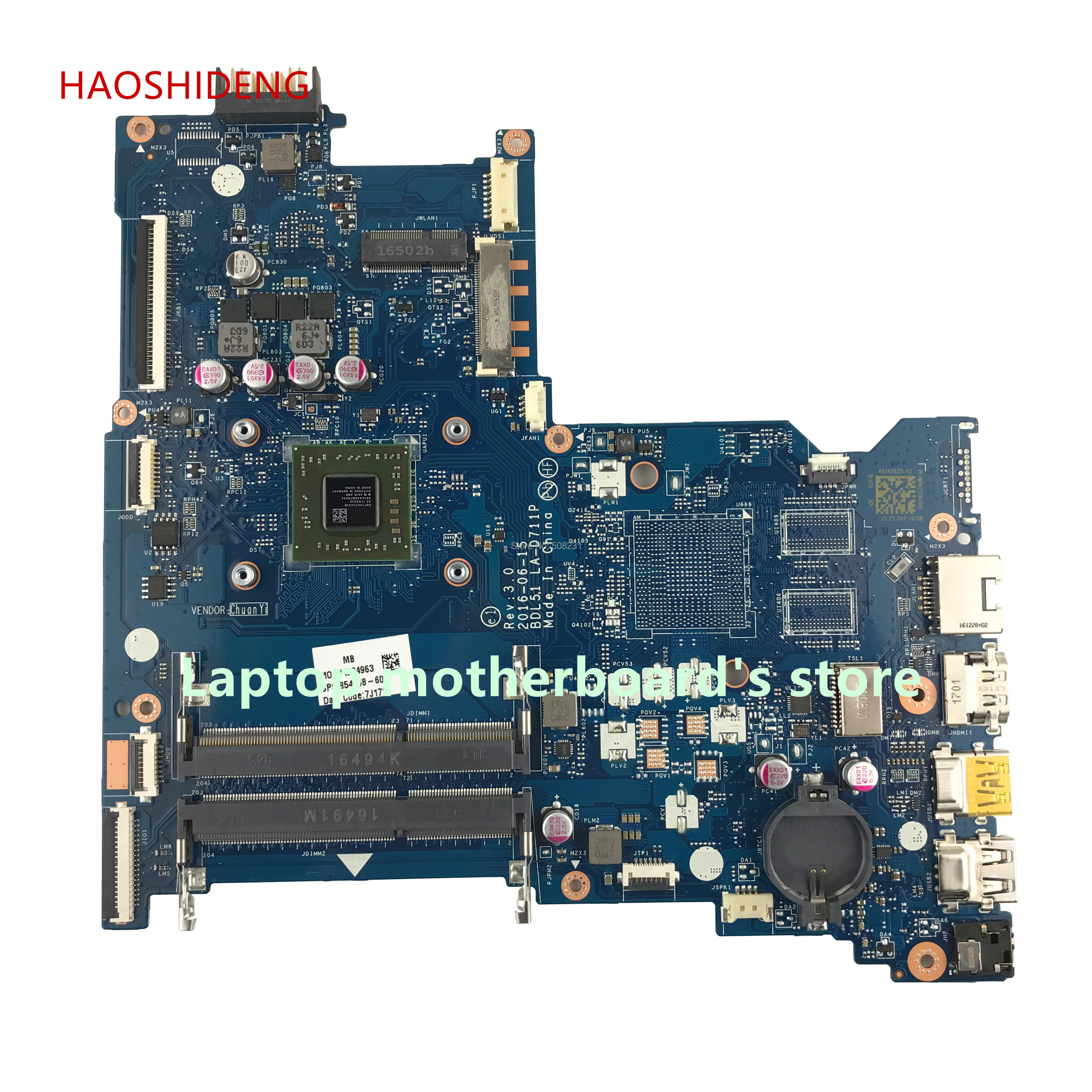 цена на HAOSHIDENG mainboard 854968-601 for HP NOTEBOOK 15-BA 15Z-BA 15-ba060nf motherboard BDL51 LA-D711P with E2-7110 fully Tested