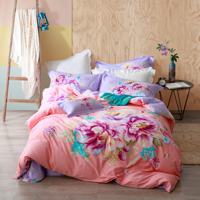 Bright Colored Floral Bedding Sets Queen U0026 King Size Duvet Covers Bed Sheets  100% Cotton