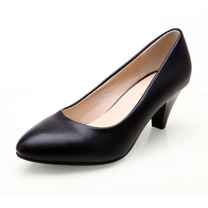 8699c2369323 YALNN Women Shoes Black Pumps 5cm New Med Heel Pumps Pointed Toe Classic  Black Leather Shoes Office Ladies Shoes-in Women s Pumps from Shoes on ...