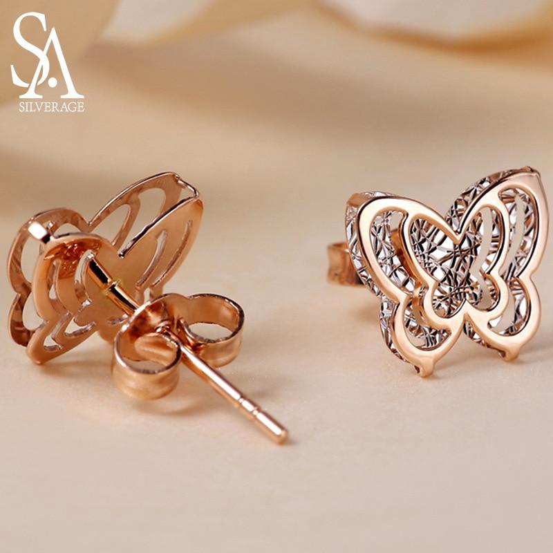 SA SILVERAGE AAA Zirconia Earrings Animal Gold Stud Earrings Earring 18K Yellow Gold Butterfly Double 3D Stud Earrings for Women in Earrings from Jewelry Accessories