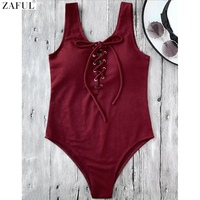 CharMma 2017 Women New Lace Up Women Swimsuit Sexy High Waisted One Piece Bathing Suit Bodysuit