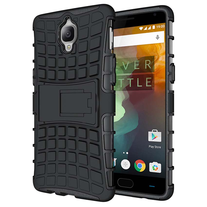 Heavy Duty Armor Case For OnePlus 3T 3 T Hybrid Hard Soft Silicone Tire Pattern Stand Back Cover For One Plus 3 3T Case Coque