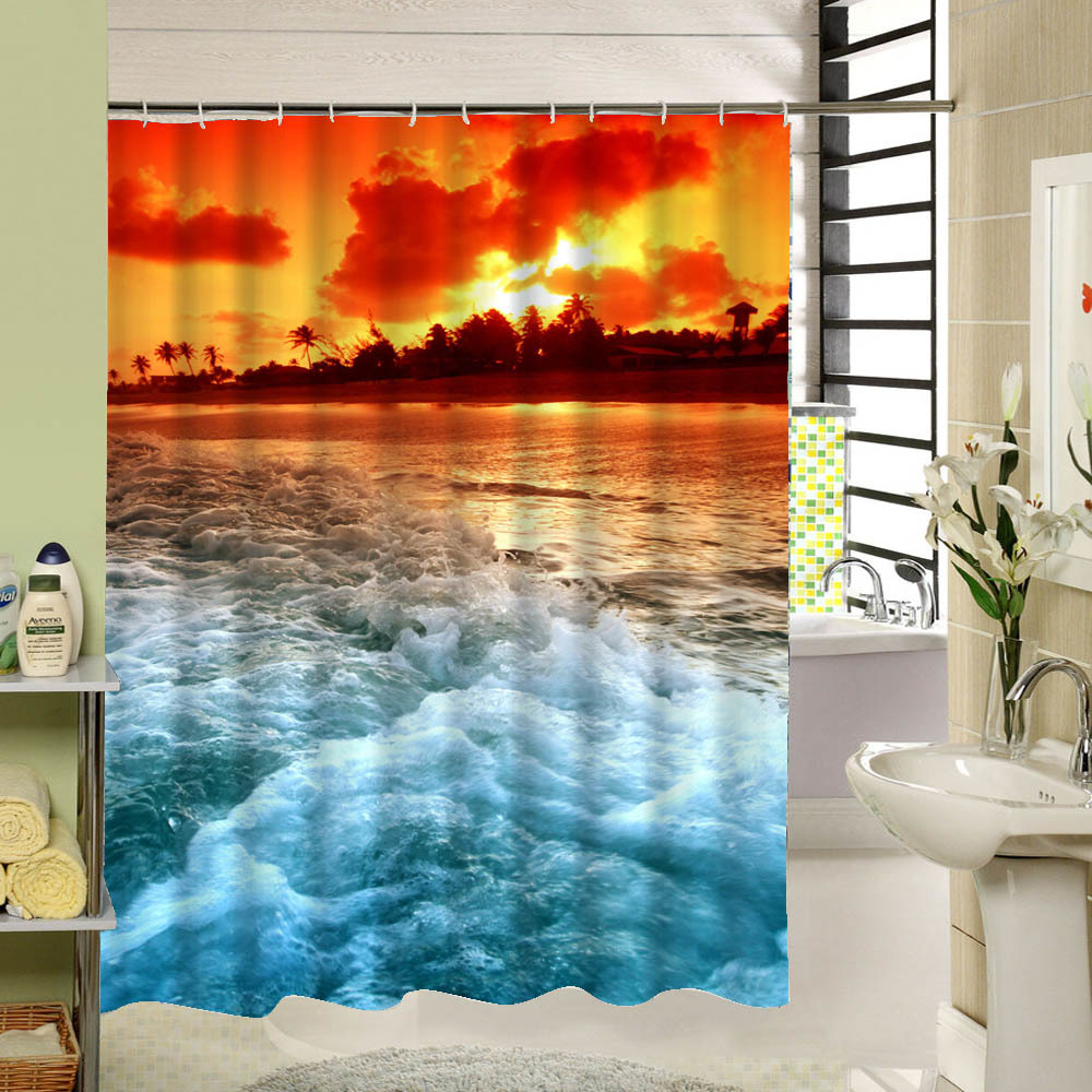 Sea cloud scenery shower curtain fabric 3d waterproof for Shower curtain savers