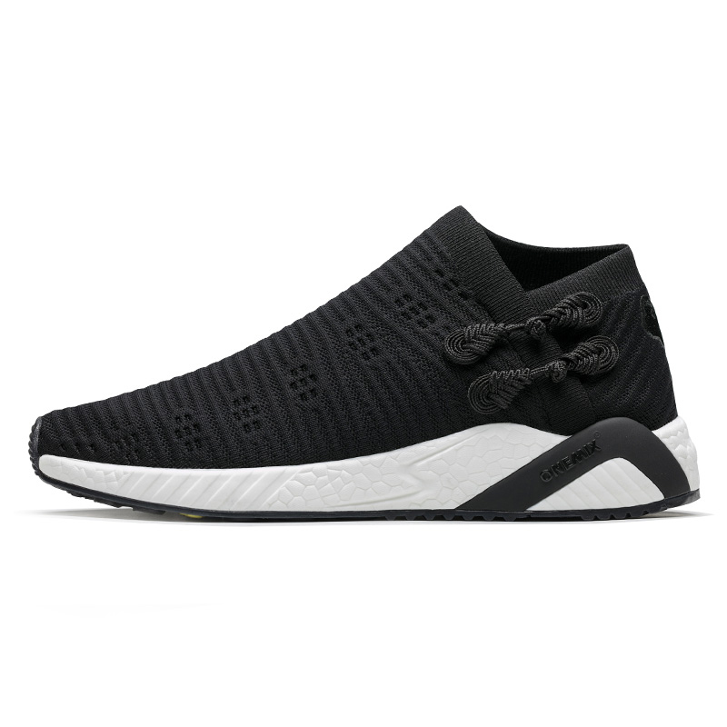new style df32f 772d9 US $49.15 54% OFF|ONEMIX City Sock Running Shoes Men Light Cool Breathable  Sneakers Triple Black CS2 Knitted Vamp Durable Rubber Jogging Shoes1253-in  ...