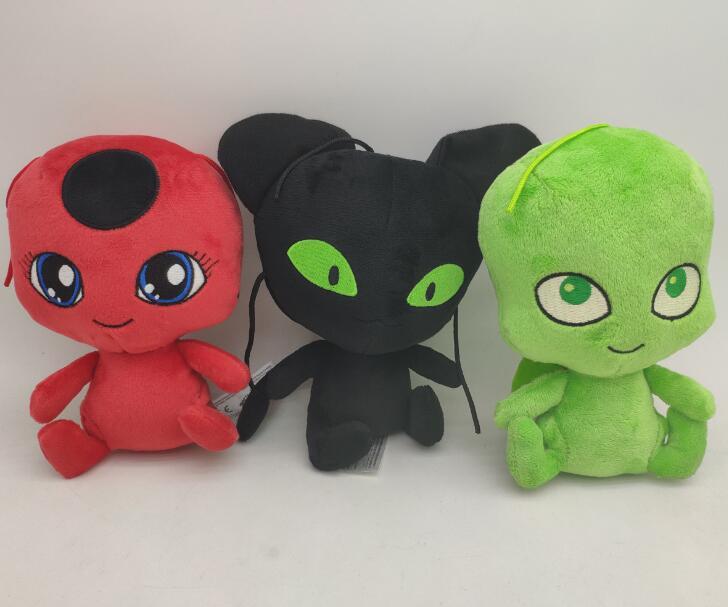 15cm coccinelle en peluche pendentif porte-clés jouets Plagg et Tikki chat Noir dame Bug Adrien Marinette doux en peluche poupées