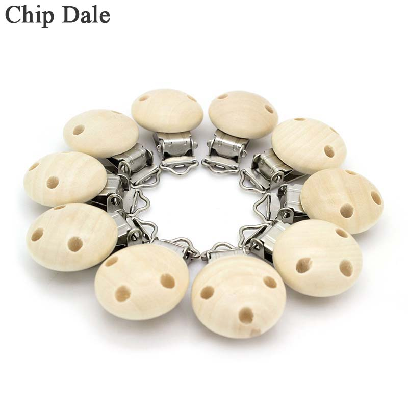 5Pcs Metal Wooden Baby Pacifier Clips Infant Soother Clasps Holders Baby Nipple Pacifier Holder Round Natural Accessories