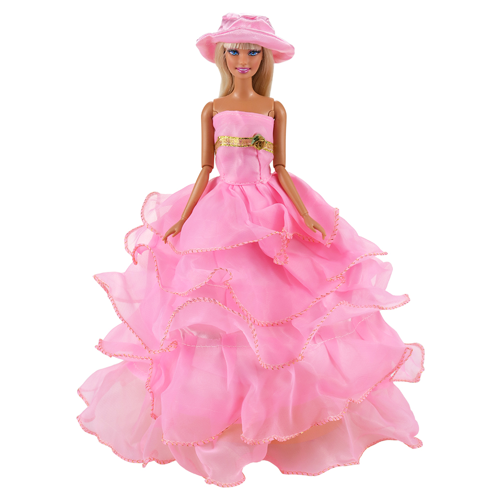 New Doll Clothes 1/6 Multi Layers Long Tail Evening Party Dress For Barbie And Accessories Making Wedding