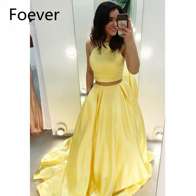 2019 Yellow Evening Dresses Long Halter Satin 2 Pieces Gown Sleeveless A-Line Formal Evening Party Dress for Women