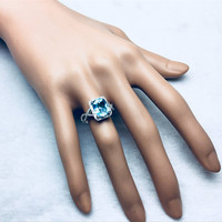 Free Shipping Solid 14K White Gold Natural Blue Topaz Diamond Engagement Ring