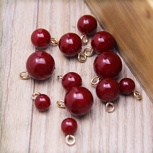 10Pas Red cherry pearl Charm Fashion DIY Jewelry Mobile Beauty Bracelet Necklace Earrings Keychain Jewelry Accessories