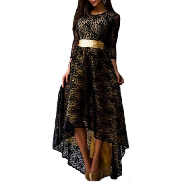 267a6420c94 2017 New Quality Women Lace Dress Long Slim Sexy Asymmetry Swallowtail  Patchwork Maxi Party Dresses Plus Size vestido-in Dresses from Women s  Clothing on ...