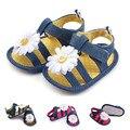 Grandes Flores Recién Nacido Suela Blanda Primeros Caminante Soled Suaves Del Verano de los Bebés de Mezclilla Zapatos de Prewalker Los Zapatos del Pesebre Interior