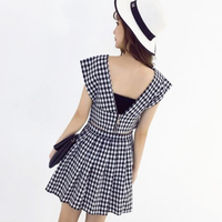 DoreenBow HIGH QUALITY Sexy Summer Style Dress Plaid Hollow Back Belly Party Casual Fahion Dress Tow