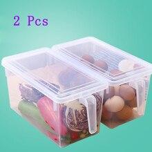 2 個キッチン透明pp収納ボックス粒含有密封されたホーム主催食品容器冷蔵庫収納ボックス
