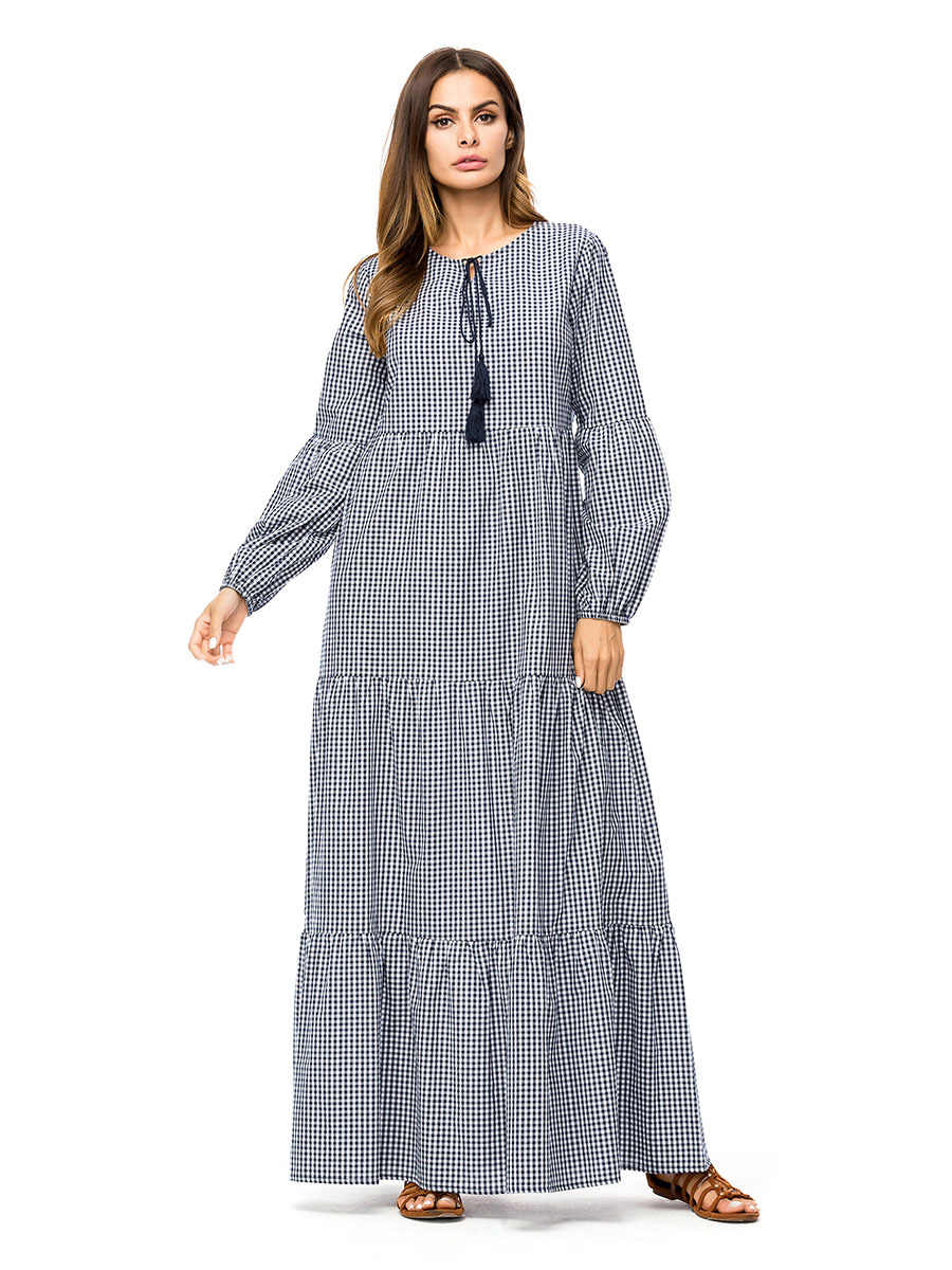 Casual Maxi Dress Plaid Abaya Full Length Dresses Plus Size Kimono Vintage  Long Robe Gowns Swing 6d10103a6c26