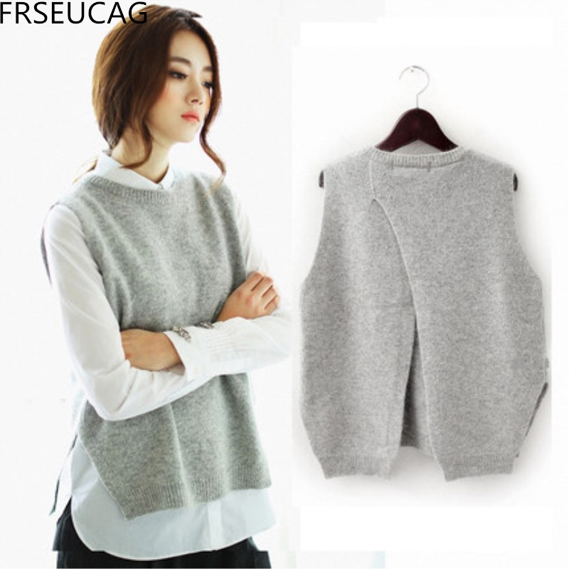 FRSEUCAG 2017The new cashmere vest back to open the knit vest woman round neck loose jac ...