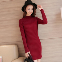 Simplee Casual High Collar Dress Long Knit Sweater Women's Fine Bodycon Dress Pullover Women's Autumn Winter Dress