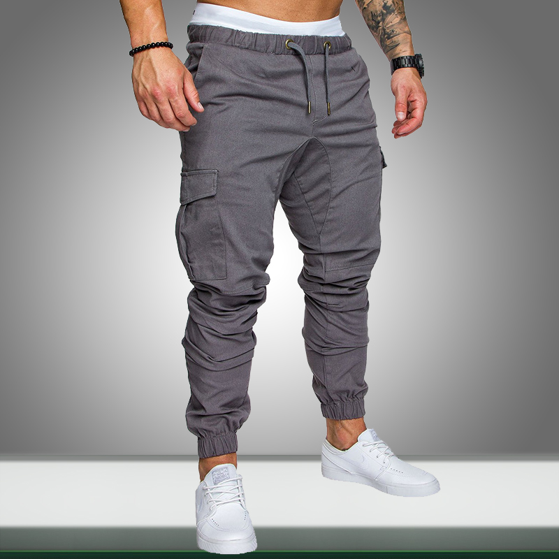 Men Joggers Sweatpants 2019 Autumn New Casual Male Sportswear Solid Multi-pocket Cargo Trousers Hip Hop Harem Pants Slim Fit