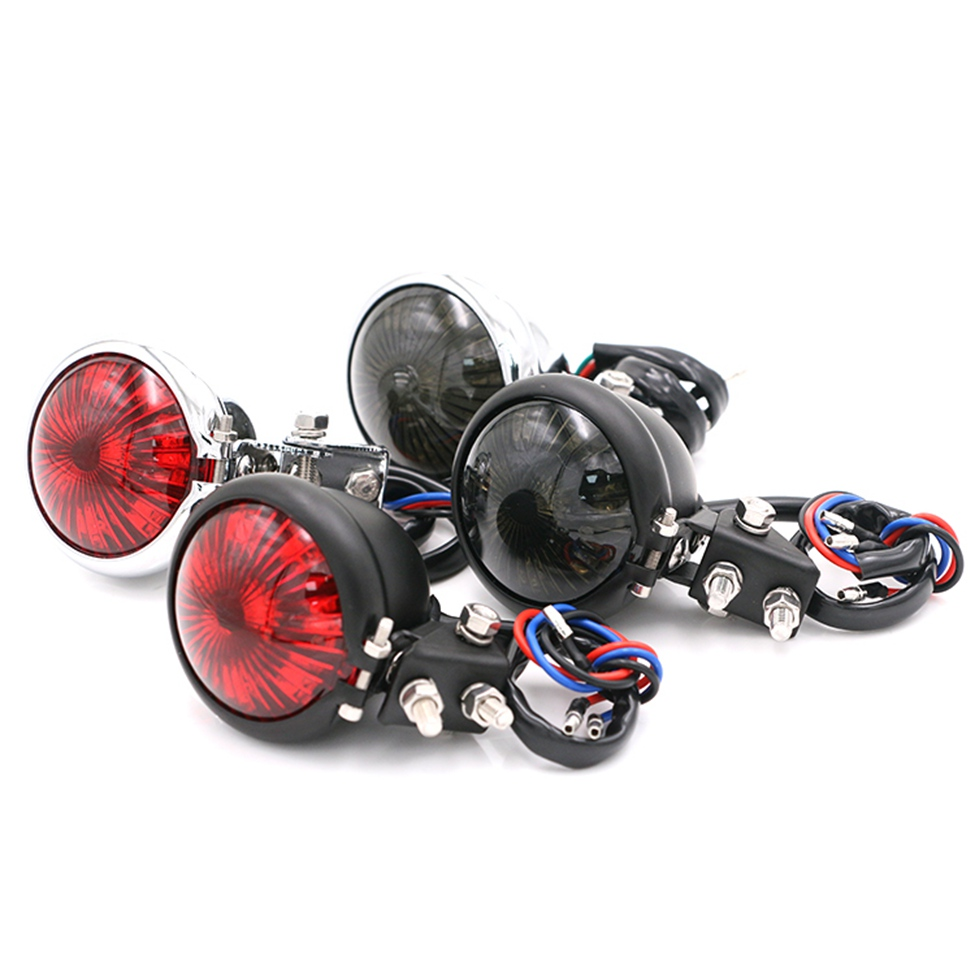 RED LED Racer Bobber Custom Motorcycle Motorbike Stop /& Tail Rear Brake Light YT