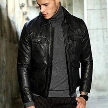 Голова овчины Тощий Короткая кожаная куртка мужская куртка