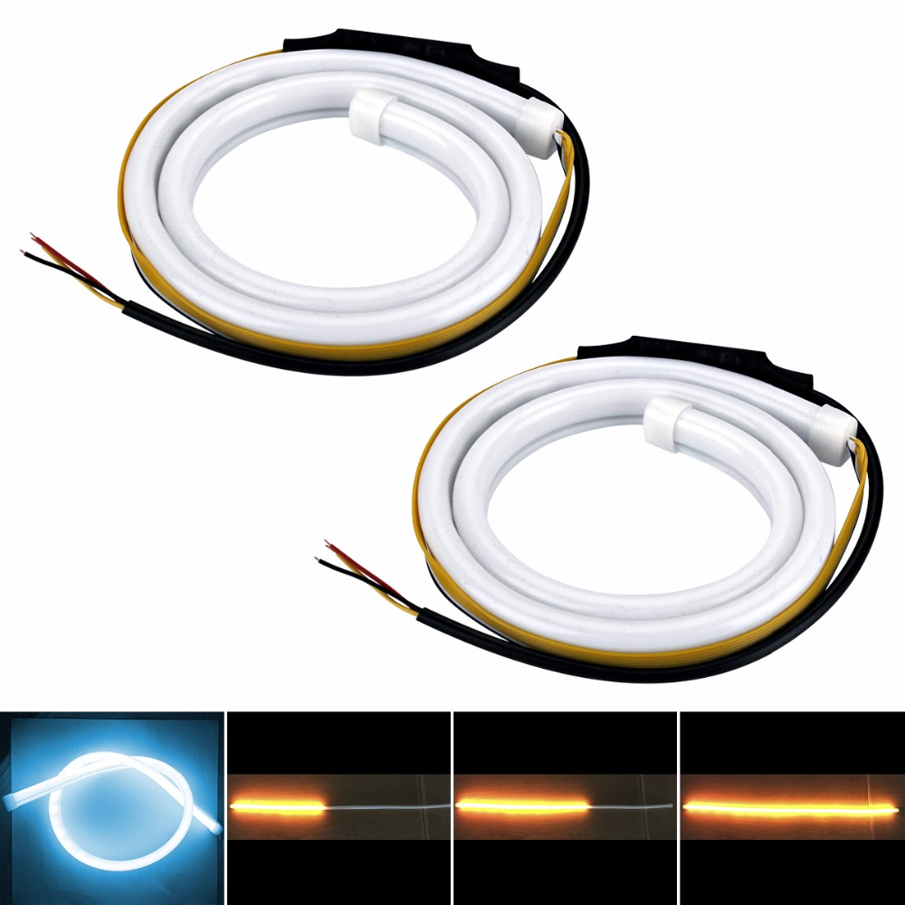 Car Flexible DRL Turn Signal Ice Blue Yellow LED Flowing Bar Silicone Daytime Running Light Headlight Strip in Car Light Assembly from Automobiles Motorcycles