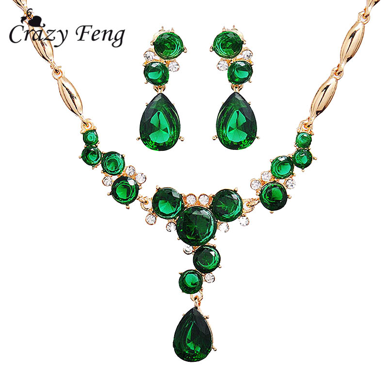 Crazy Feng Women's New Fashion Gold-color  CZ Crystal  Rhinestone Necklace+Earrings Flower Wedding Jewelry Sets Free shipping