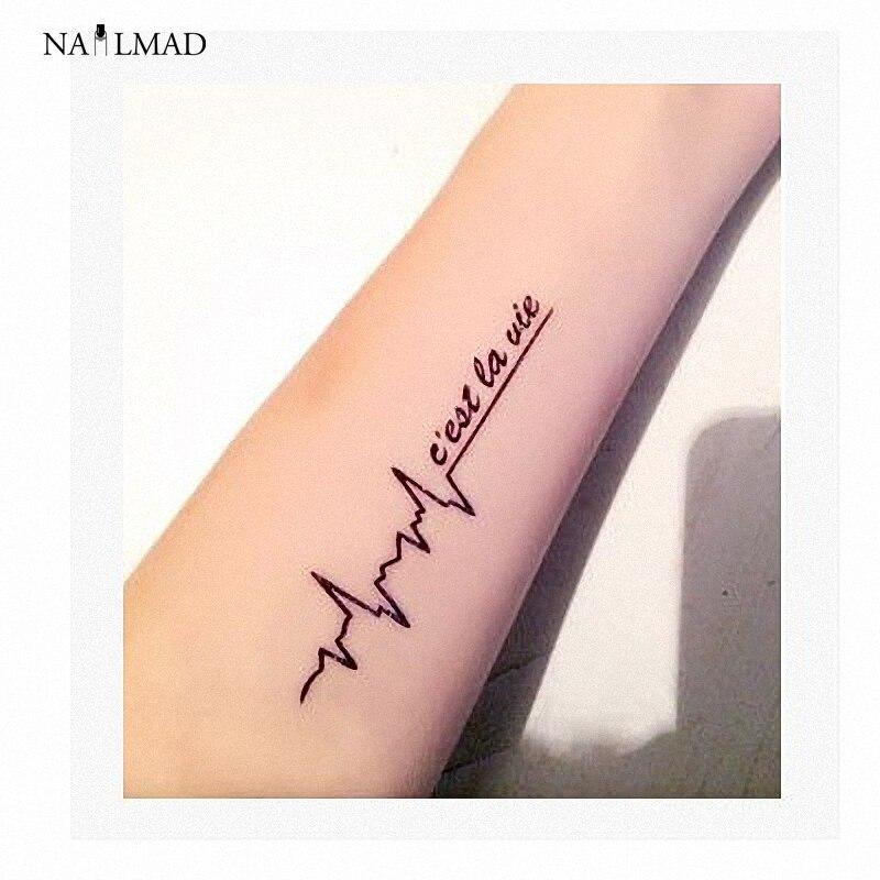 1 hoja NailMAD Carta Negro Impermeable Tatuaje Tatuajes de Flash Del Tatuaje Tem