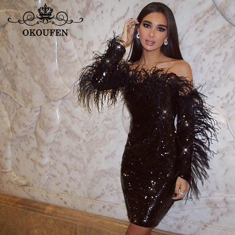 Bling Sequined Short Cocktail Dresses With Feather Long Sleeves 2019 Off Shoulder Sheath Little Black Dress Party For Women