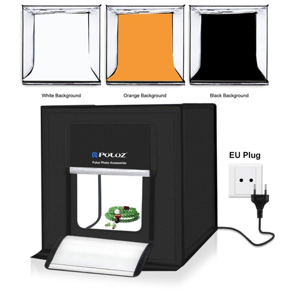 PULUZ Lightbox 60 pièces LED Mini Photo Studio boîte 5500LM photographie boîte douce lumière tente ensemble 3 couleurs décors Portable sac