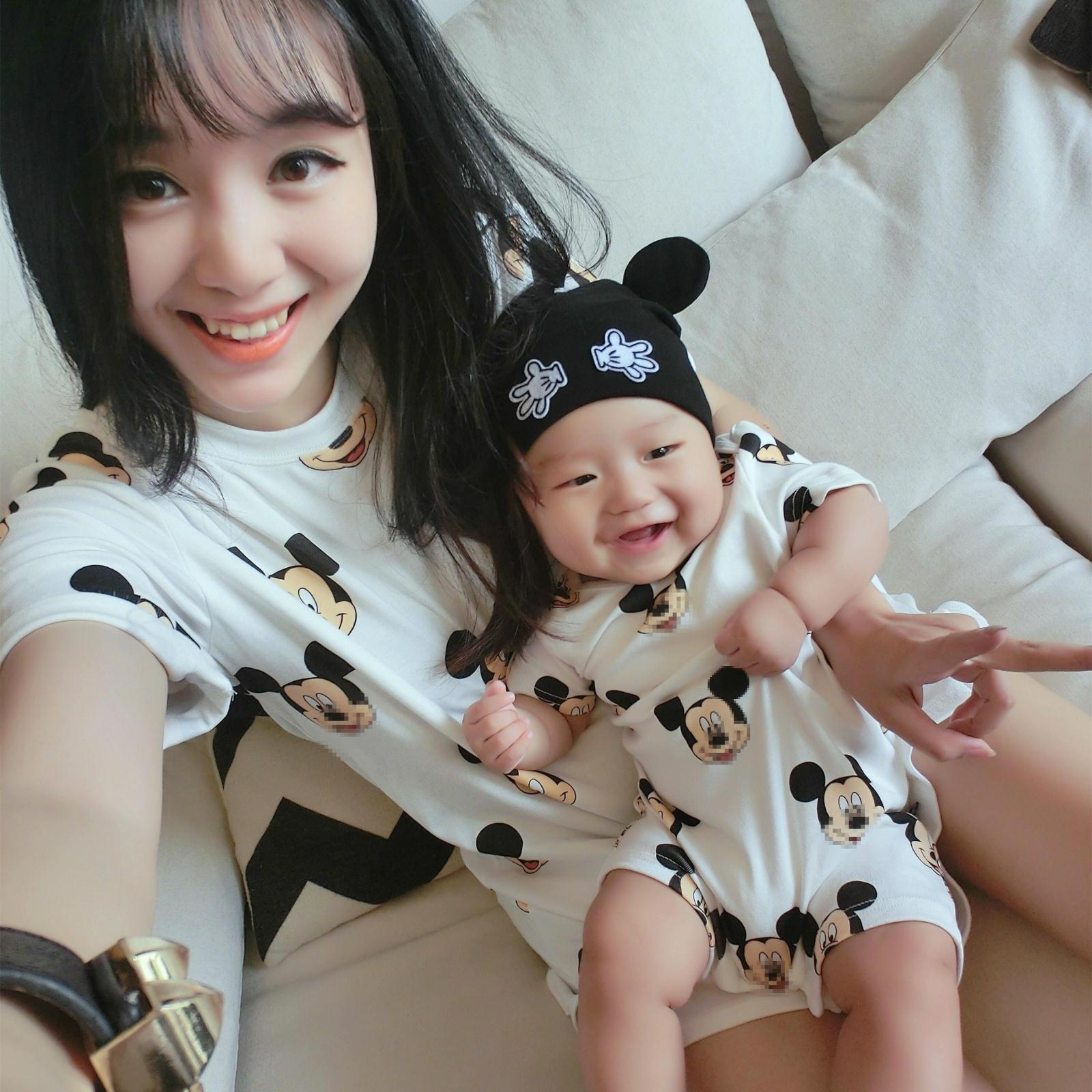 Family Matching Outfit Short Casual Cotton Character T Shirts Mother Kids Mommy Baby And Mon Dad Son Clothes Mickey Family Shirt