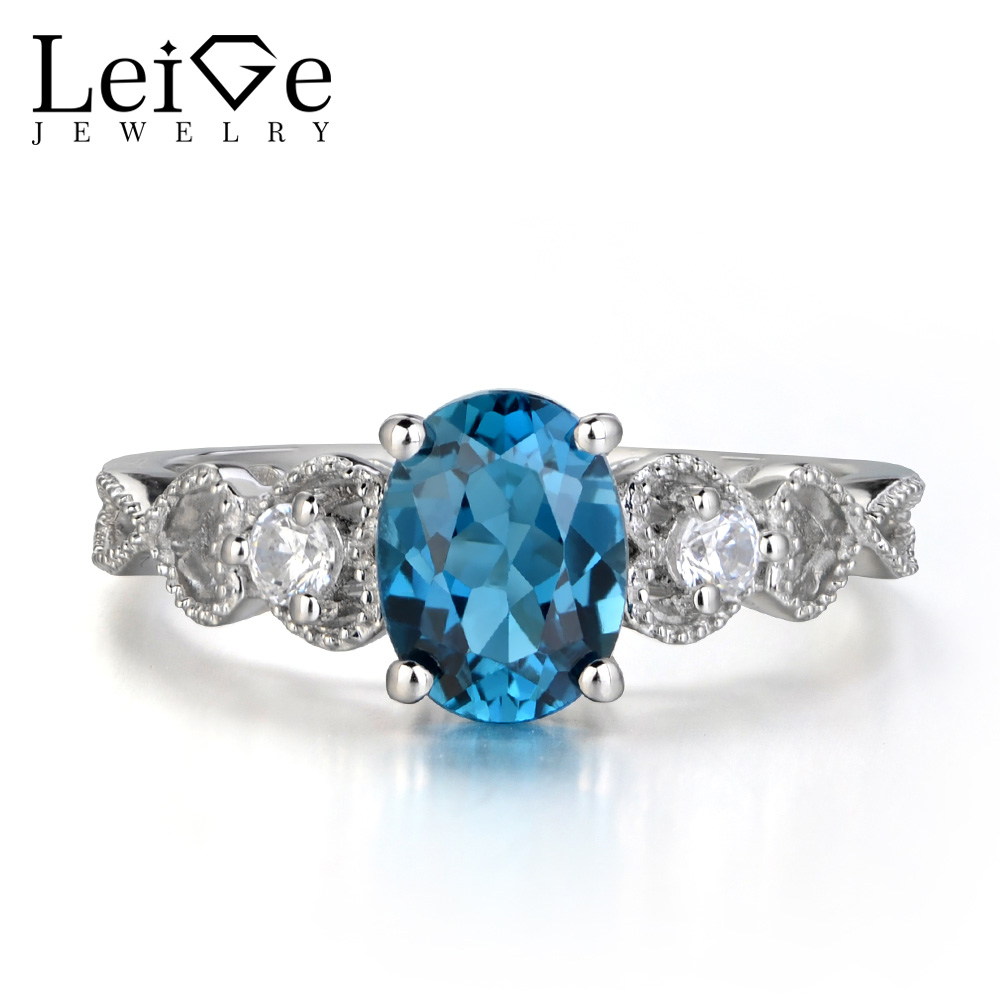 Leige Jewelry London Blue Topaz Ring 925 Sterling Silver Jewelry Oval Cut Blue Gemstone Wedding Engagement Rings for Women leige jewelry swiss blue topaz ring oval shaped engagement promise rings for women 925 sterling silver blue gemstone jewelry