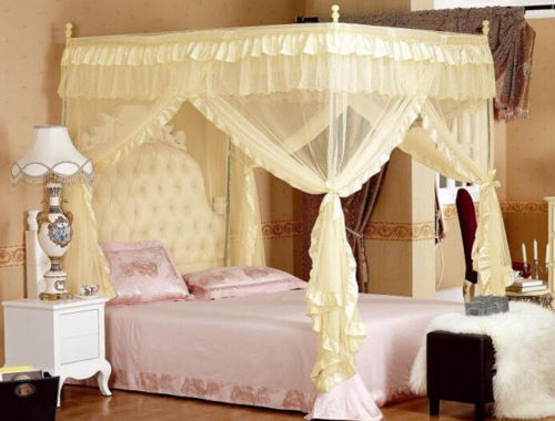 4 Corners Post Bed Curtain Canopy Mosquito Net Twin XL Full Queen Cal King Size No Bracket-in Mosquito Net from Home u0026 Garden on Aliexpress.com | Alibaba ... & 4 Corners Post Bed Curtain Canopy Mosquito Net Twin XL Full Queen ...
