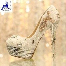 2016 neue frauen pumps Fashion hochzeit schuhe weiß brautschuhe komfortable plattform strass high heels schuhe party heels