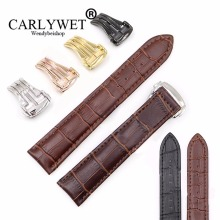 CARLYWET 18 20 22mm Real Leather Black Brown Crocodile Grain Vintage Deployment Wrist Watch Band Strap For seamaster