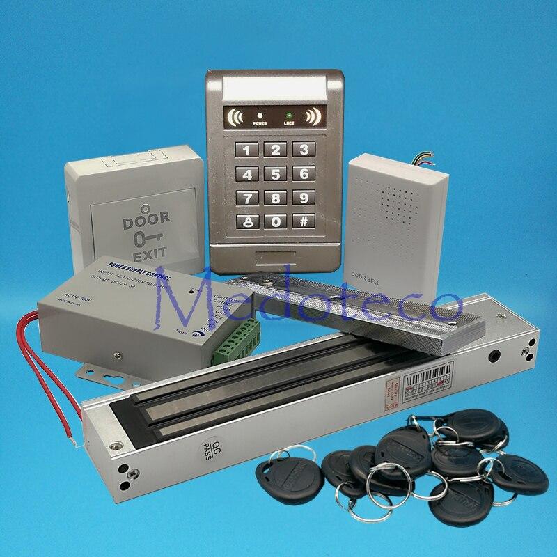 Full 125khz Rfid Card Wood Metal Door Access Control System Kit EM Card Access Controller +600lbs Magnetic Lock + Door Bell