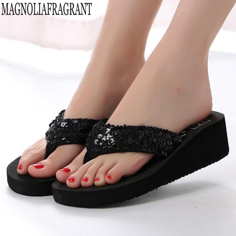 Wedge Heels Sequin Sandals Ladies Flops Shoes Women Summer Sandals Slip On Flip