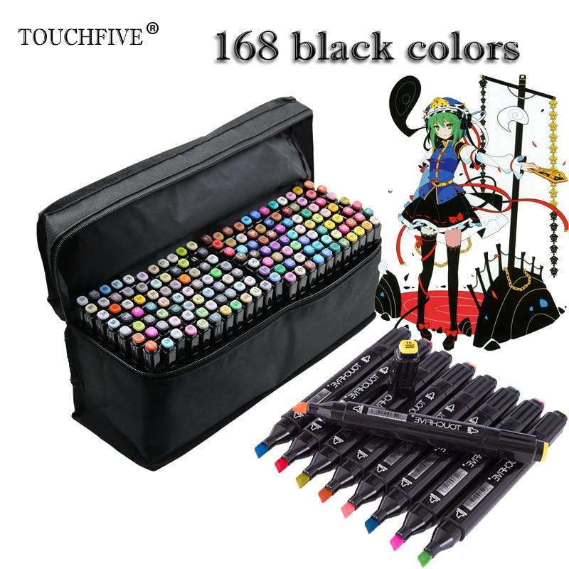 TOUCHFIVE 168 Black Colors Art Markers Alcohol Based Markers Drawing Pen Set Manga Dual Headed Art Sketch Marker Design Pens