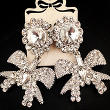 Charmcci Unique Full Rhinestones Big Bow knot drop earrings for women jewelry charm gifts