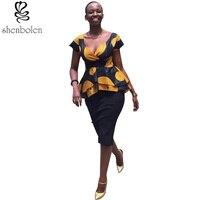 2016 African Dresses For Women Ankara Dashiki Clothing Wax Printing Batik Tops Black Skirt Fashion Suit
