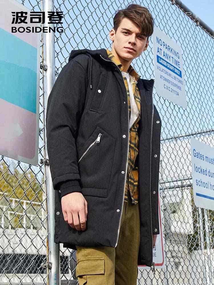 BOSIDENG Мужская зимняя длинная куртка-пуховик с капюшоном на утином пуху, мужская повседневная модная куртка-пуховик высокого качества B70142527