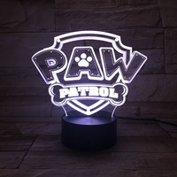 3D Dog Paw LED Desk Table Lamp 7 Colors Change Patrol NightLight Home Child Bedroom Decor Baby Sleep Lighting Holiday Party Gift